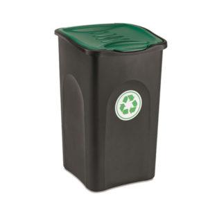 Cos De Gunoi Din Plastic Cu Pedala 50 Lt (negru   Capac Verde)