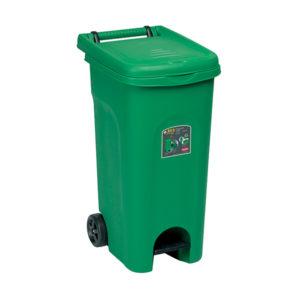 Урна для мусора 80Л, с педалью и колесами (Зеленый)