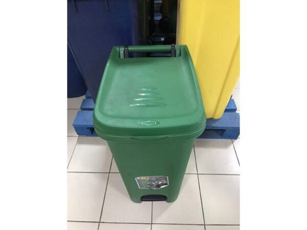 Urna dlya musora 80L, s pedalyu i kolesami (Zelenyj) 1