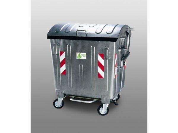 Ocinkovannyj kontejner s pedaliyu i krugloj kryshkoj, s pedaliyu, obyem 1100L EU 1