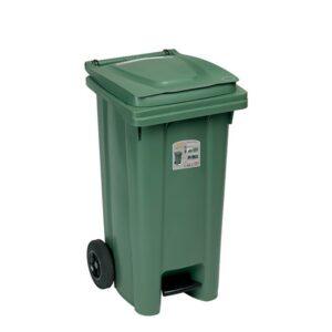 Мусорный бак 120л C педалью StefanPlast (зеленый)