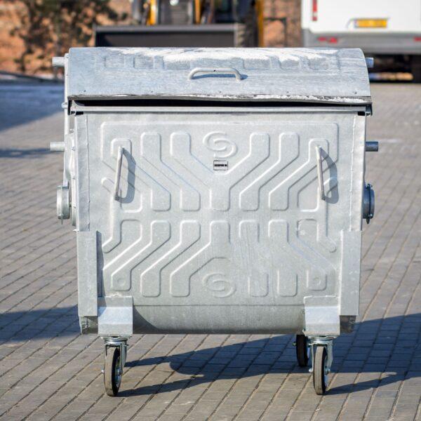 Kontejner ocinkovannyj Spider 1100 l s krugloj kryshkoj-1-min