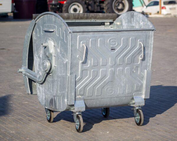 Kontejner ocinkovannyj Spider 1100 l s krugloj kryshkoj-5-min